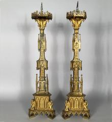 Neo-Gothic Gilt Bronze Pricket Candlesticks - R16617