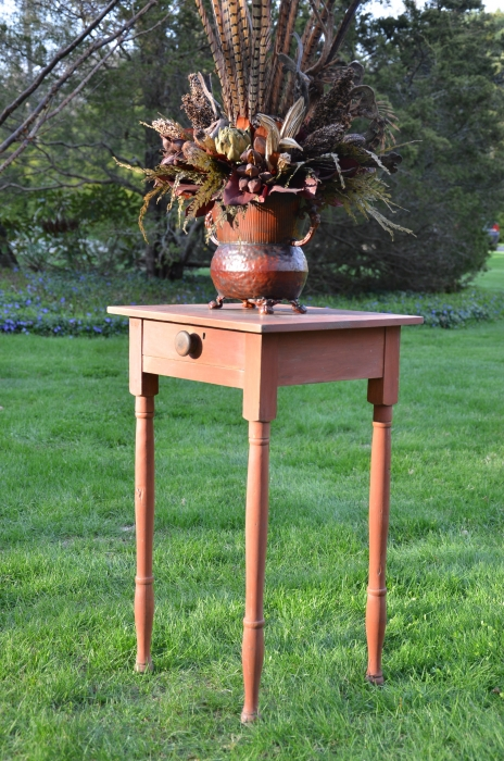 Country Side Table with Dried Flowers