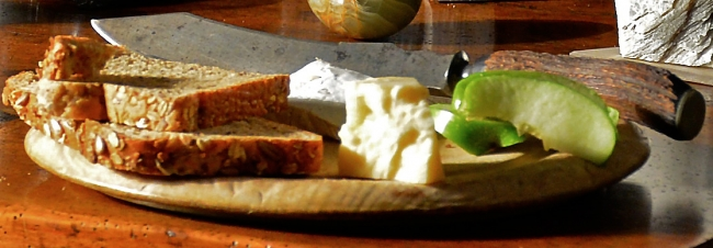 Detail of Bread, Cheese, and Apple