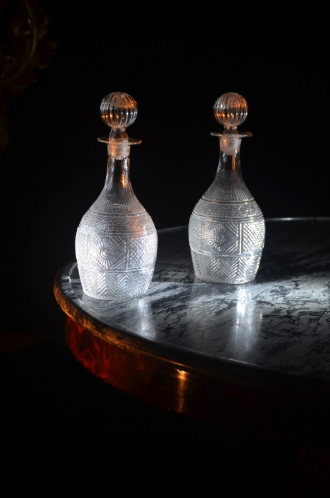 Pair of Blown Glass Decanters