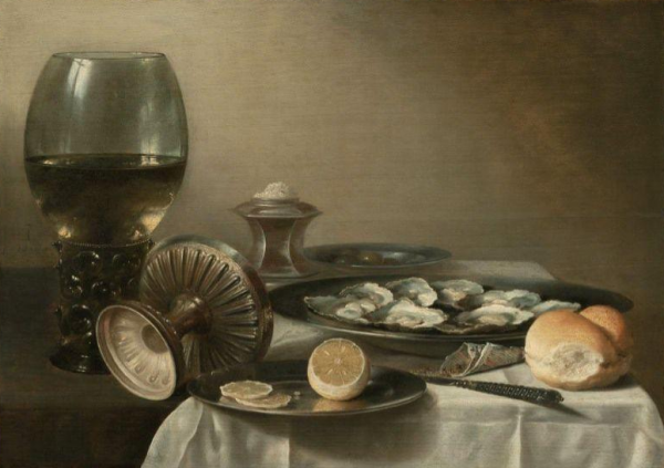 Pieter Claesz Still Life With Wine Goblet and Oysters 1630
